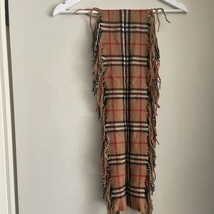 Authentic Burberry Cashmere Fringe Scarf